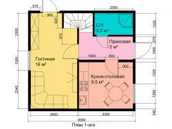 Каркасный двухэтажный жилой дом 72 кв.м с мансардой