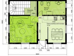 Каркасный двухэтажный жилой дом 112 м2