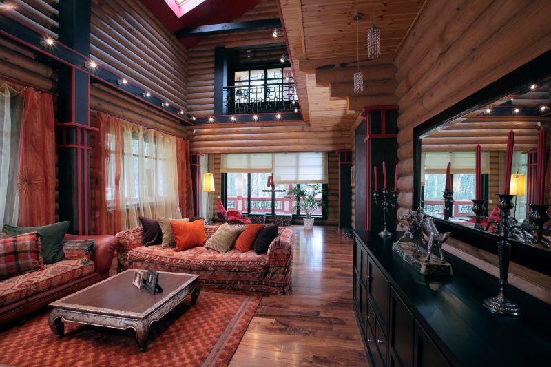 Гостиная в деревянном доме фото